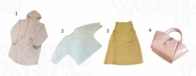 1)スプリングコート 2,222円 2)トップス 1,999円 3)スカート 1,666円