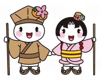 大垣市マスコットキャラクター(左)おがっきぃ(右)おあむちゃん