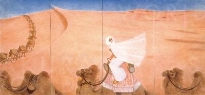 《繭の傳説》(守屋多々志、大垣市蔵) 砂漠を行進するラクダと異国に嫁ぐ王女。
