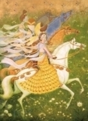 《楊四娘》(守屋多々志、大垣市蔵)躍動感あふれるウマと少女時代の楊貴妃。