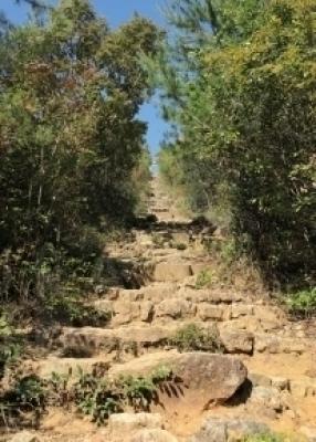3.山頂に登る前の急階段。多度神社の鳥居をくぐれば山 頂はすぐそこ。