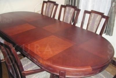 [After] 木部の塗装とイスの座面を張替え、背の籐を座面と同じ生地に張替え。