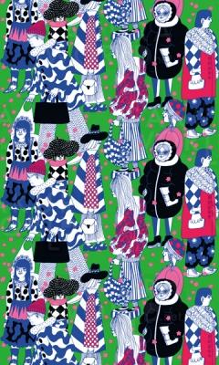 """マイヤ・ロウエカリ《桜の花の雨》2017年マリメッコ・スピリッツ展のためのデザイン""""Kirsikankukkasade""""Designed by Maija Louekari 2017 for Marimekko Spirit Exhibition"""